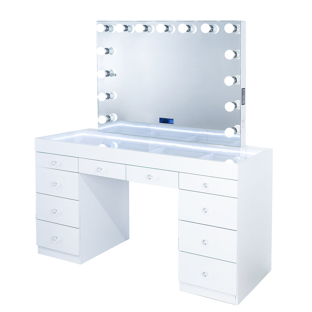 Fiat Lux Lighted 10-Drawer Vanity Table + Marilyn BT Mirror