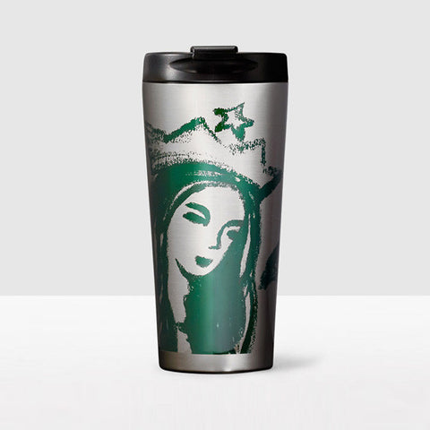 Starbucks 2015 Illustrated Siren Portrait Stainless Steel Tumbler Coffee Mug, 16 oz