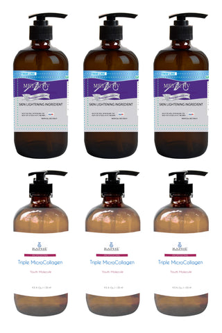 3 of the 8oz Very Stable Liquid Hydroquinone Skin Lightening Agent & 3 of 16oz Super Collagen Emulsion