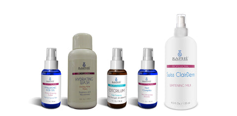 Clairderm Whitening Milk, OTCRILUM 3D Whitening gel, Hyaluronic Acid Bleaching Gel, and Whitening Peel complex