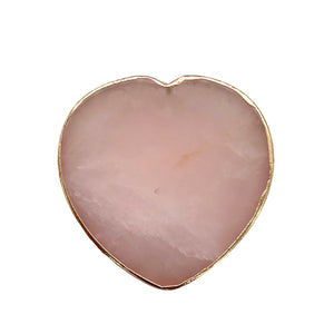 Rose Quartz Heart Phone Grip with Gold Trim