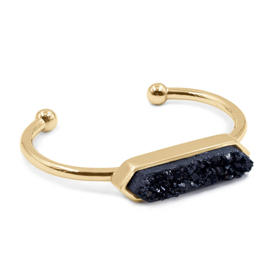 Druzy Pave Bar Bangle - Love & Light Jewels
