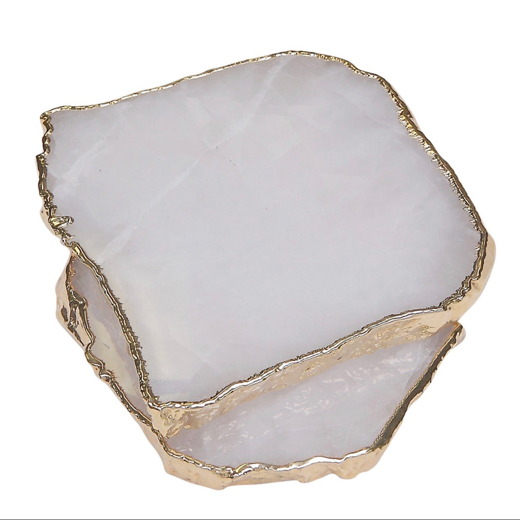Gold Trimmed Clear Quartz Mini Platter