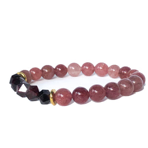 Geo Hex Beaded Bracelet - Garnet - Love & Light Jewels