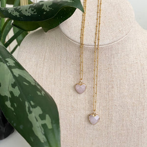 Delicate Rose Quartz Heart Necklace