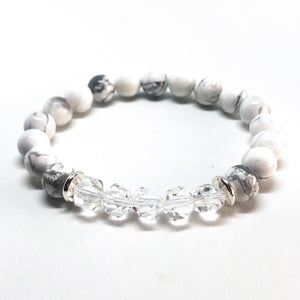 Geo Hex Beaded Bracelet - Clear Quartz