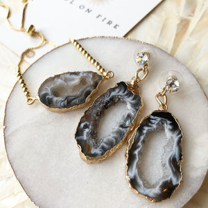 Agate Slice Cocktail Earrings - Love & Light Jewels