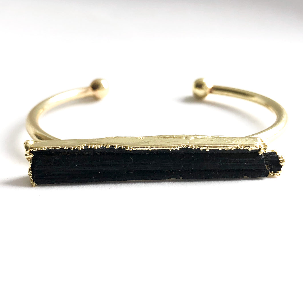 Black Tourmaline Bar Bangle - Love & Light Jewels