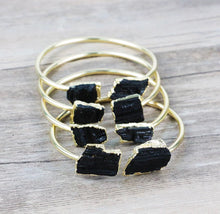 Black Tourmaline Nugget Bangle - Love & Light Jewels