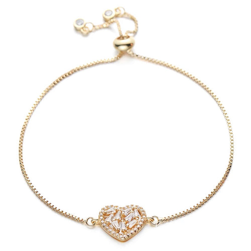 Crystal Heart Adjustable Bracelet - Love & Light Jewels