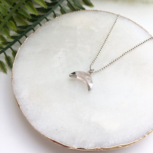 Sterling Silver Double Dipped Horn Necklace - Love & Light Jewels