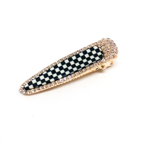Luxe Black & White Mosaic Barrette - Love & Light Jewels