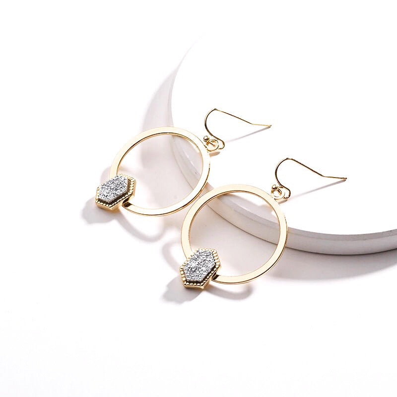Dazzling Dainty Druzy Hoop Earrings