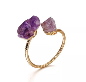 Amethyst Nugget Adjustable Ring