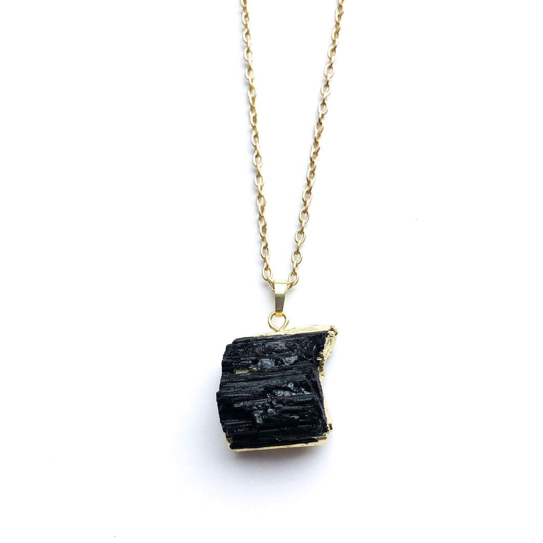 Black Tourmaline Nugget Necklace - Love & Light Jewels