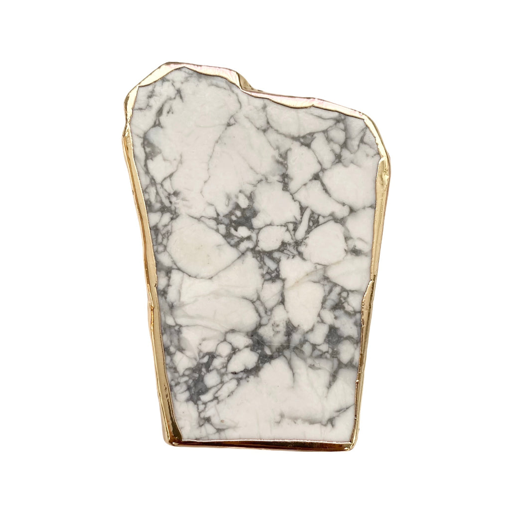 Howlite Phone Grip with Gold Trim