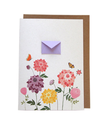 Dahlias and Butterflies - Tiny Envelope Card