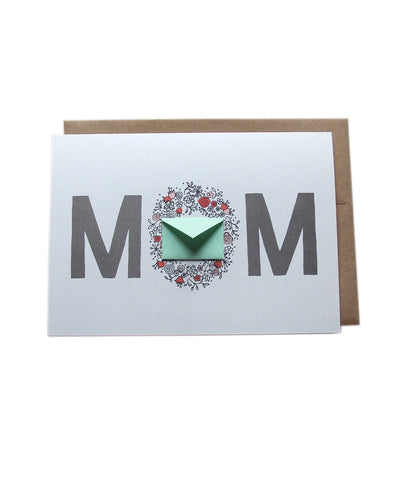 Mom Flower Wreath - Tiny Envelope Mother's Day Card
