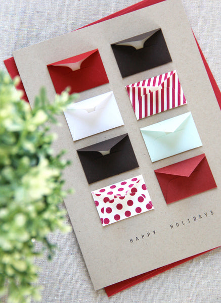 Happy Holidays Dots and Stripes Tiny Envelopes Card