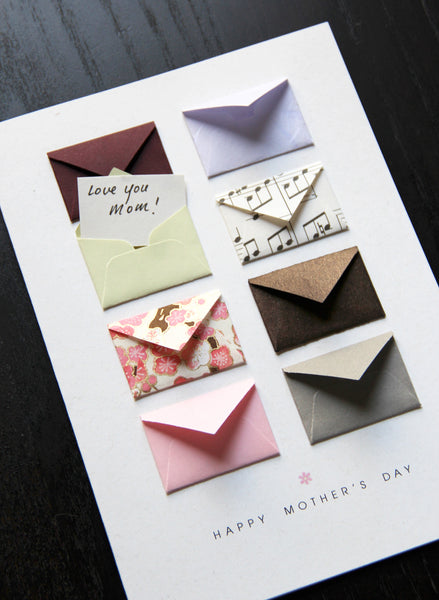 Music Notes & Cherry Blossoms - Tiny Envelope Mother's Day Card