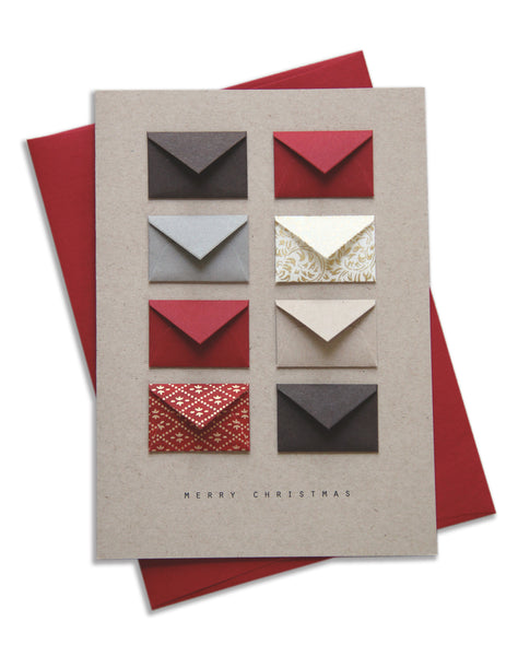 Merry Christmas Red and Gold Tiny Envelopes Card