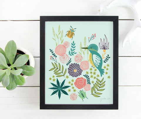 Blue Bird and Roses - Art Print