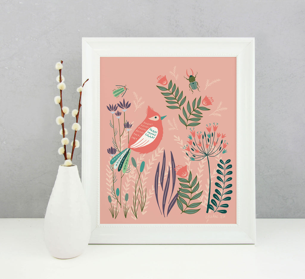 Red Bird and Blooms - Art Print