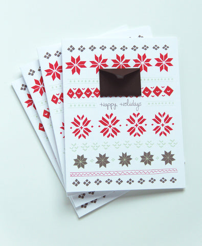 8 Hand Illustrated Holiday Cards Set - Holiday Knits