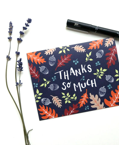 8 Hand Illustrated Thank You Cards Set - Autumn Forest