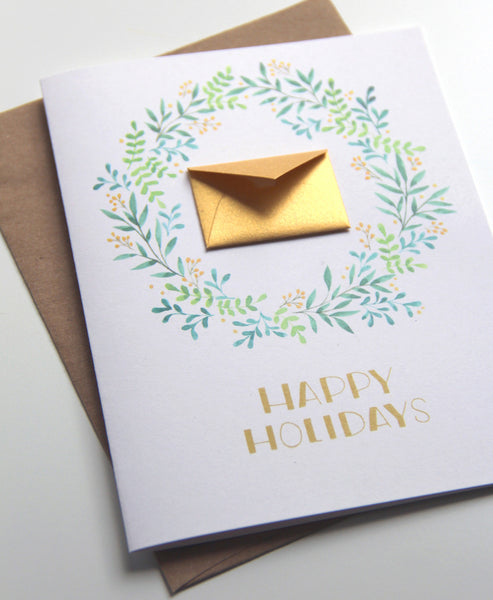 8 Hand Illustrated Watercolor Holiday Cards Set - Green and Gold Wreath