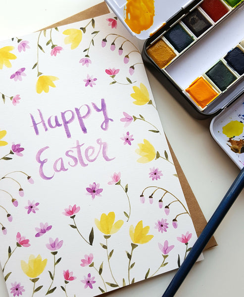 Happy Easter - Hand Painted Watercolor Greeting Card