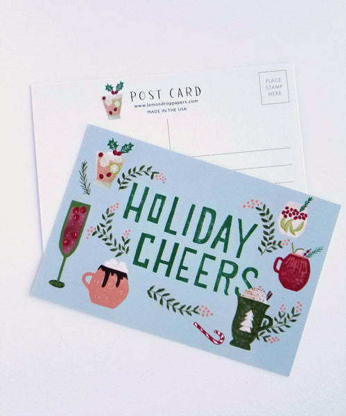 Holiday Cocktails Hand Illustrated Postcard