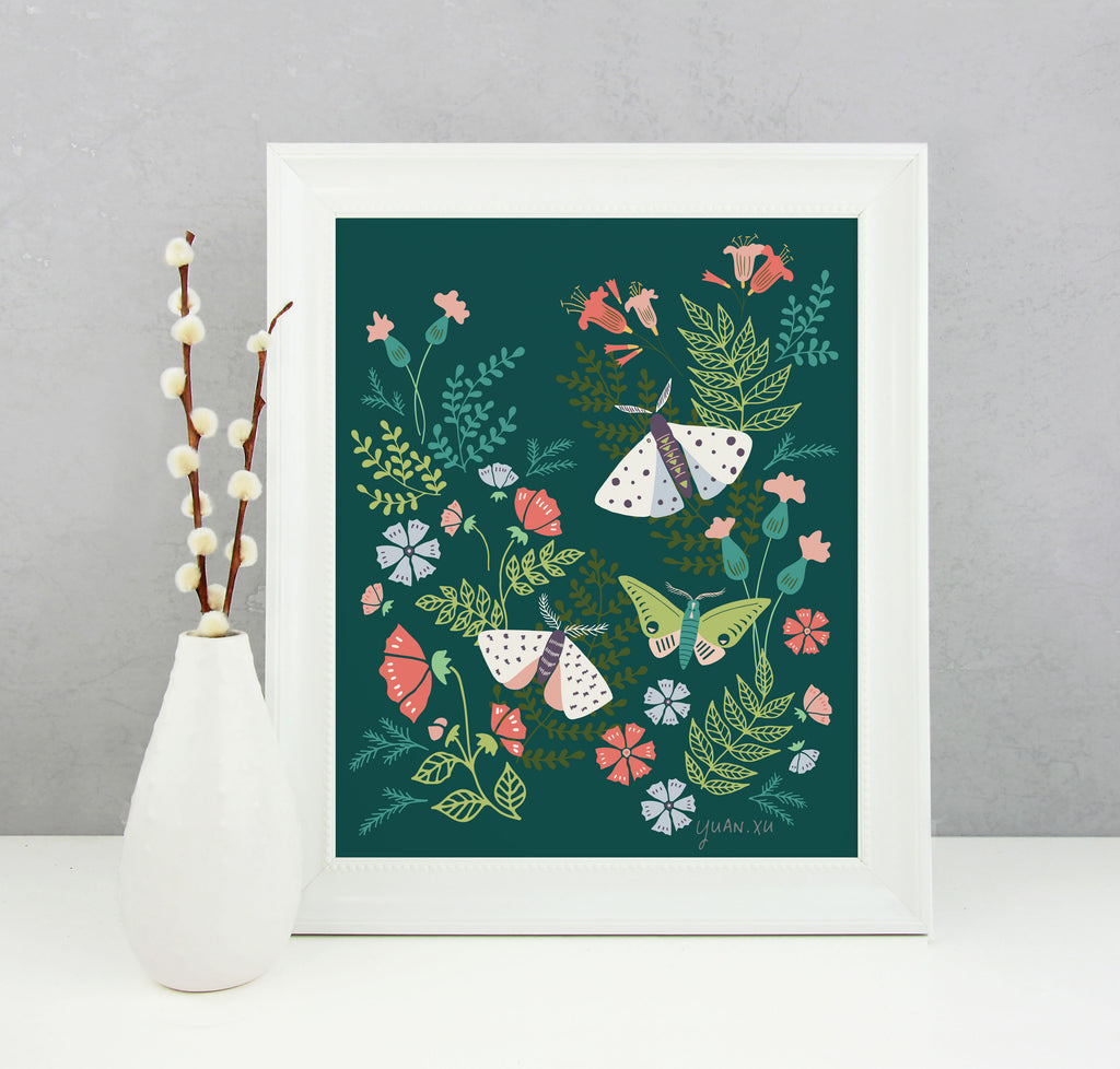 Moths and Blooms - Art Print