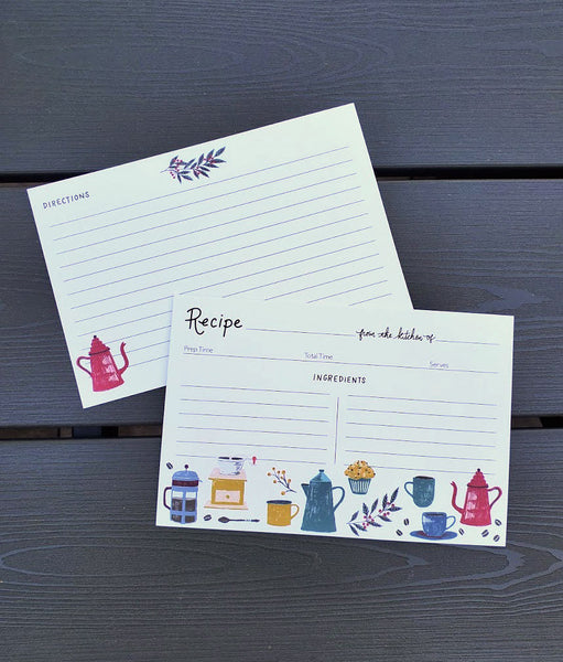 But First Coffee Hand Illustrated Recipe Cards