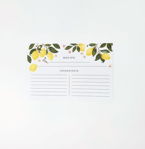 Kitchen Lemons Hand Illustrated Recipe Cards
