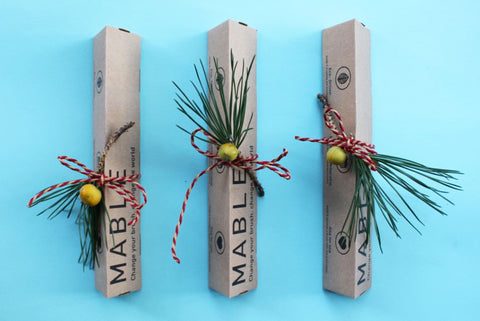 Eco friendly Christmas giftwrap, sustainable xmas wrapping, Mable toothbrush