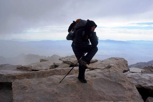 Hiker on Mount Whitney