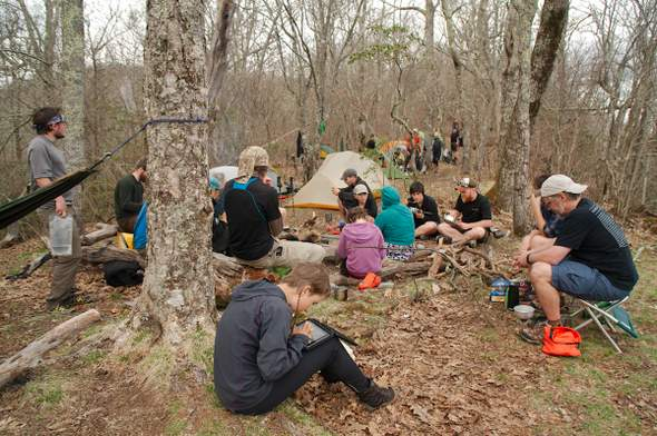 crowded campsite at Cold Spring Shelter