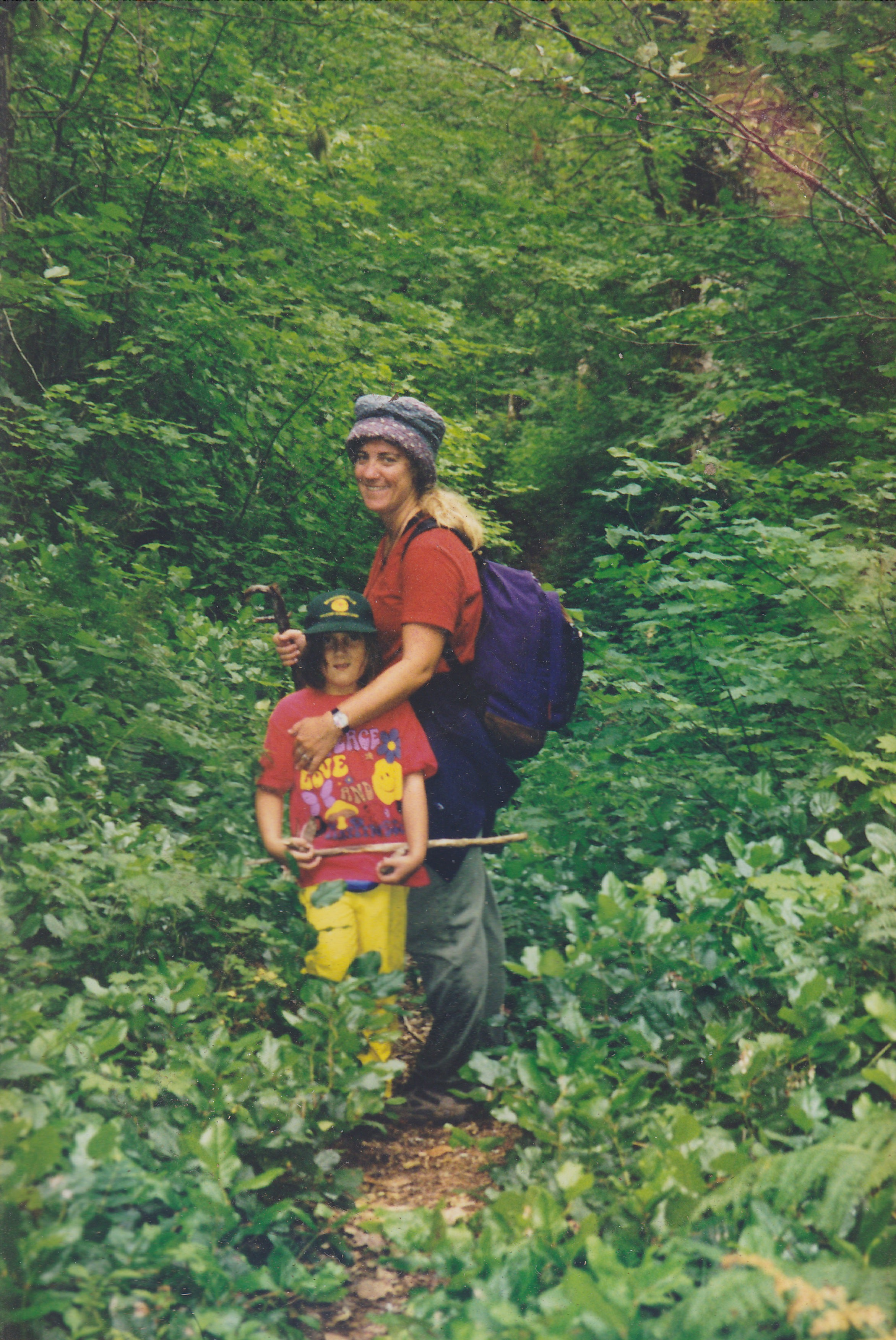 mother and daughter on trail