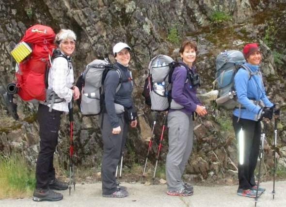 women backpacking