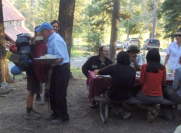 picnic table of thru hikers