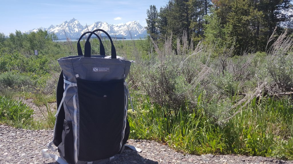Gossamer Gear's Vagabond pack with the Grand Tetons in the background