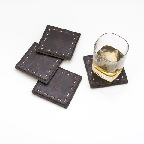 Hand Sewn Leather Coasters - Set of Four