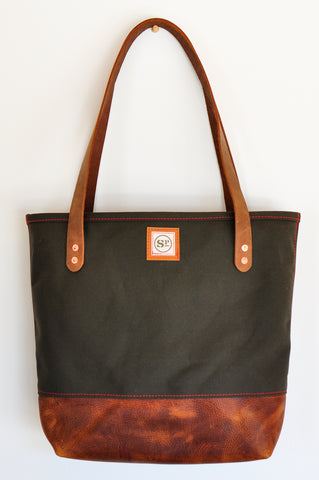 Duck Canvas Tote w/Leather Bottom