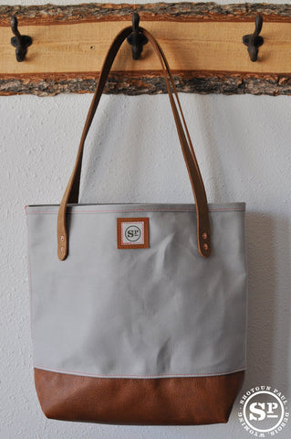 Duck Canvas Tote with Leather