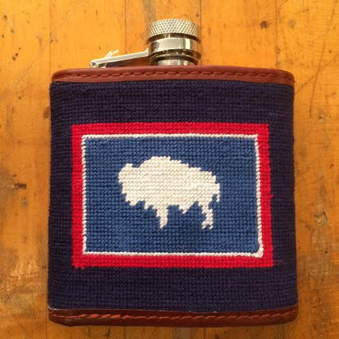 Wyoming Flag Needlepoint Flask
