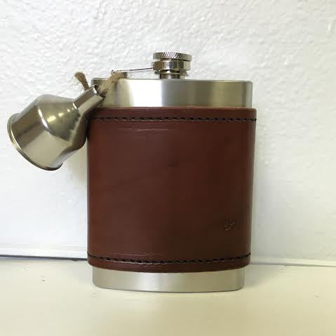 Leather Covered Monogram Flask