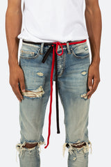 Two Tone Drawcord Belt - Black/Red - mnml