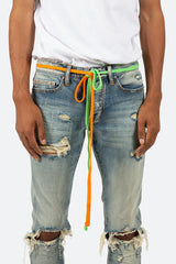 Two Tone Drawcord Belt - Green/Orange - mnml