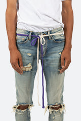 Two Tone Drawcord Belt - Purple/White - mnml